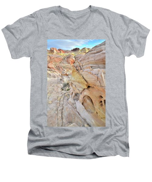 Color At Valley Of Fire State Park Men's V-Neck T-Shirt by Ray Mathis