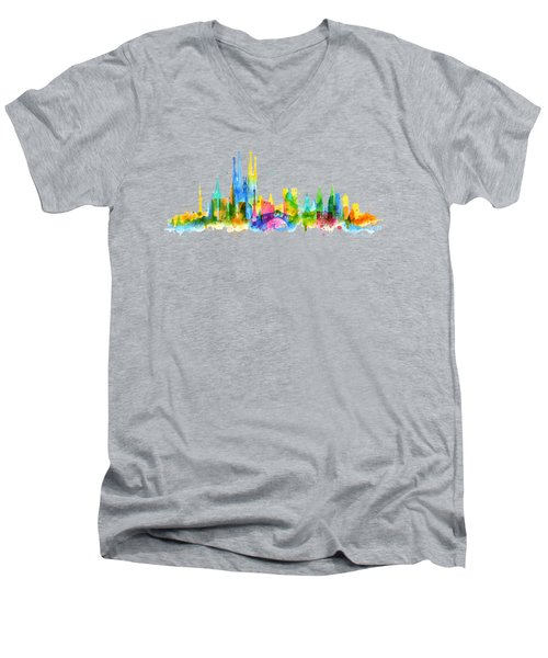 Color Barcelona Skyline 01 Men's V-Neck T-Shirt by Aloke Creative Store