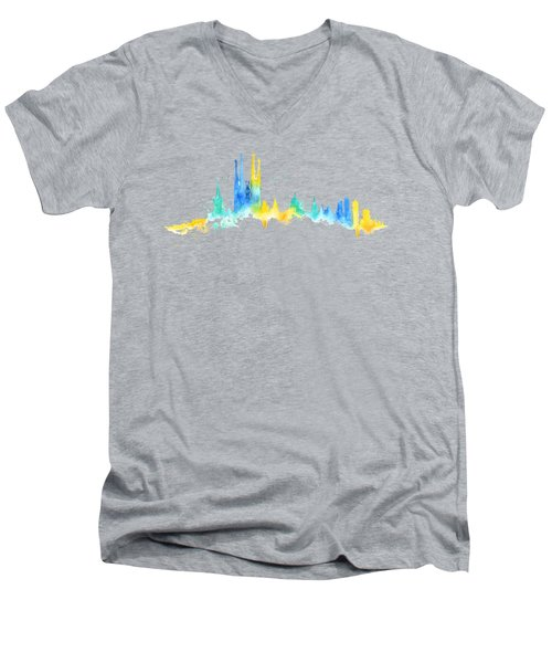 Color Barcelona Skyline 02 Men's V-Neck T-Shirt by Aloke Creative Store