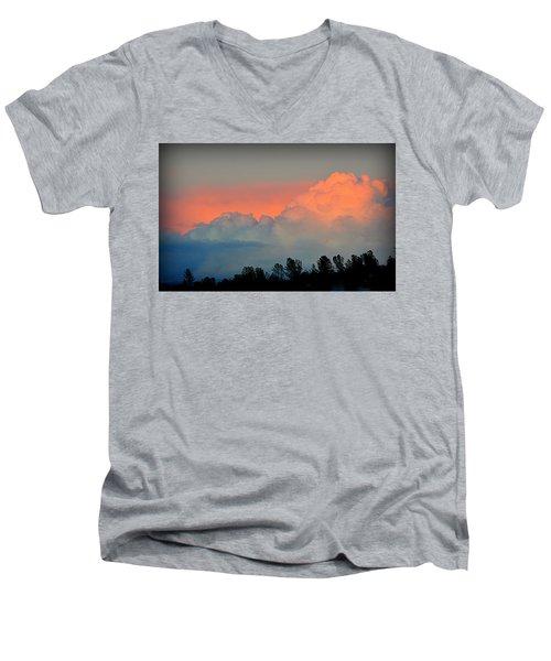 Men's V-Neck T-Shirt featuring the photograph Color Burst by AJ Schibig
