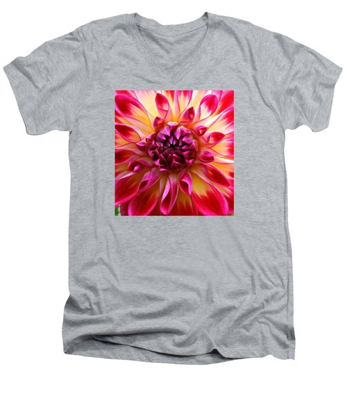 Color Burst Dahlia  Men's V-Neck T-Shirt