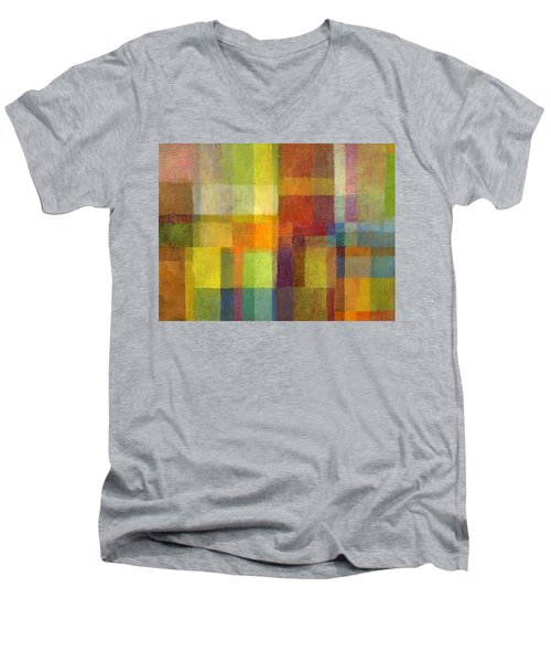 Men's V-Neck T-Shirt featuring the painting Color Collage With Green And Red 2.0 by Michelle Calkins