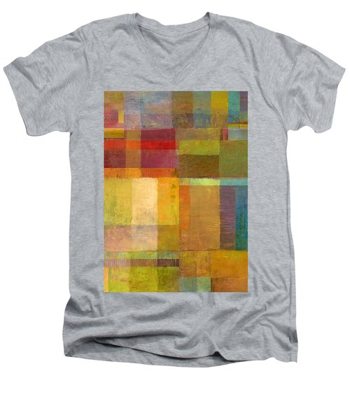 Men's V-Neck T-Shirt featuring the painting Color Collage With Green And Red by Michelle Calkins