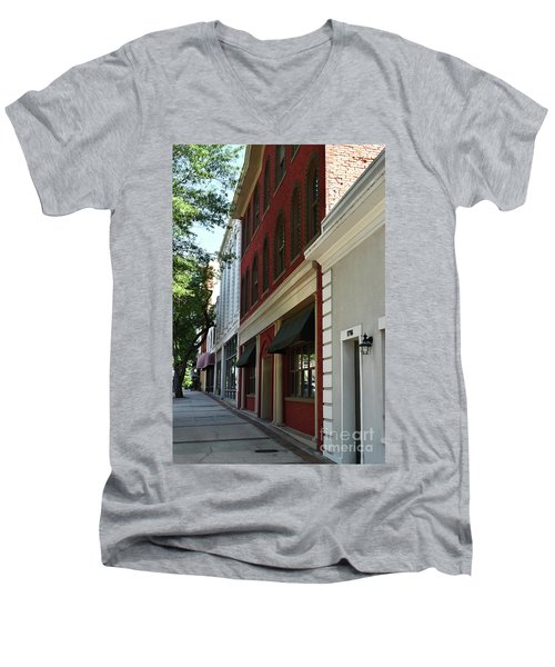 Men's V-Neck T-Shirt featuring the photograph Color Me Main St Usa by Skip Willits