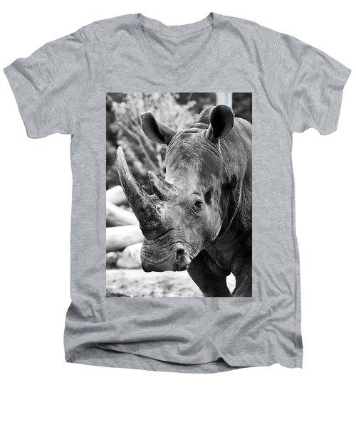 Men's V-Neck T-Shirt featuring the photograph Color Me Rhino by John Haldane