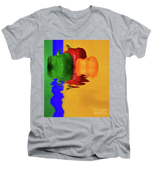 Men's V-Neck T-Shirt featuring the photograph Color Pop Peppers By Kaye Menner by Kaye Menner