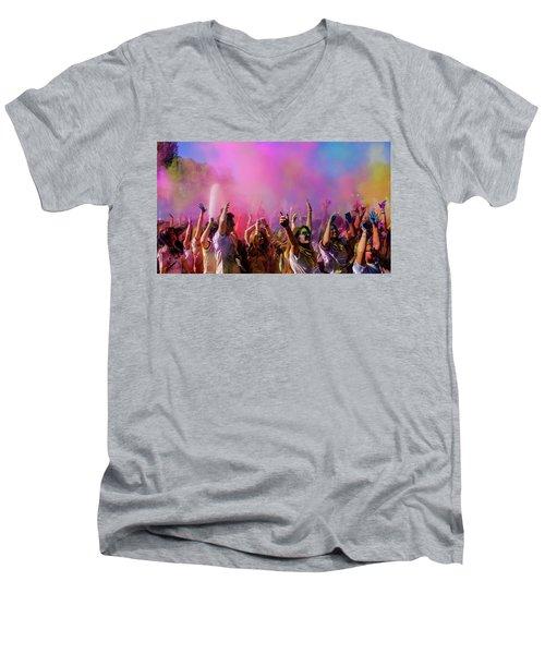 Color Sky Men's V-Neck T-Shirt