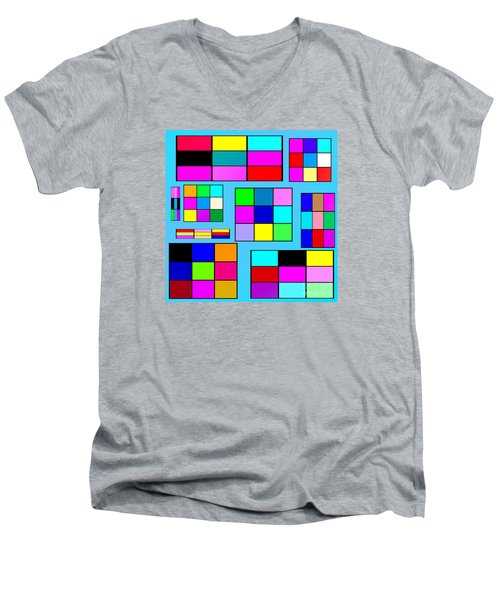 Color Squares Men's V-Neck T-Shirt