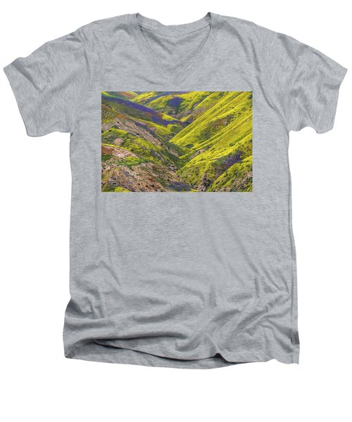 Men's V-Neck T-Shirt featuring the photograph Color Valley by Peter Tellone