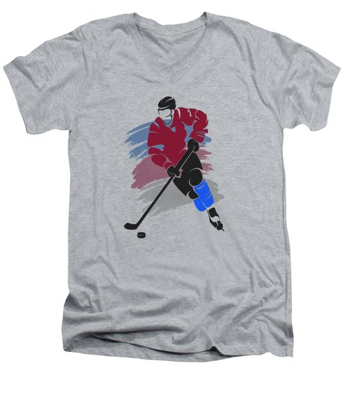 Colorado Avalanche Player Shirt Men's V-Neck T-Shirt by Joe Hamilton