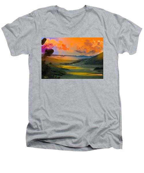 Colorado Big Valley Sunrise Men's V-Neck T-Shirt