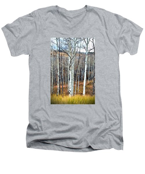 Men's V-Neck T-Shirt featuring the photograph Colorado Fall Aspen by James Steele