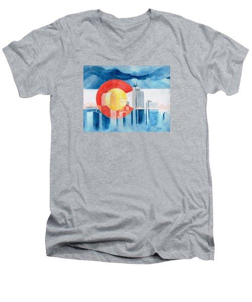 Colorado Flag Men's V-Neck T-Shirt by Andrew Gillette