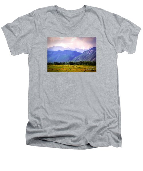 Colorado Harvest Watercolor  Men's V-Neck T-Shirt
