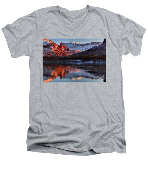 Men's V-Neck T-Shirt featuring the photograph Colorado Red Tower Reflections by Adam Jewell