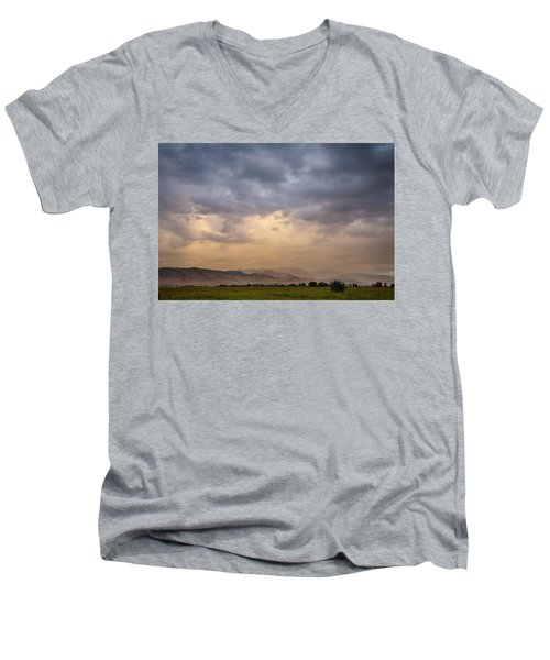 Men's V-Neck T-Shirt featuring the photograph Colorado Rocky Mountain Foothills Storms by James BO Insogna