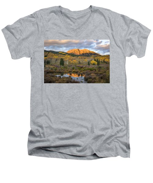 Men's V-Neck T-Shirt featuring the photograph Colorado Sunrise by Phyllis Peterson
