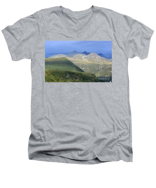 Colored Peaks Of The Caucasus Men's V-Neck T-Shirt by Arik Baltinester