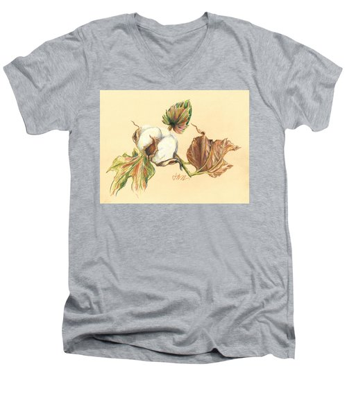 Colored Pencil Cotton Plant Men's V-Neck T-Shirt