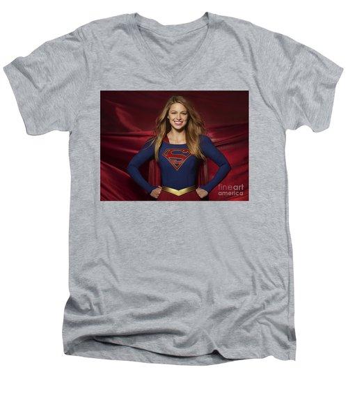 Colored Pencil Study Of Supergirl - Melissa Benoist Men's V-Neck T-Shirt