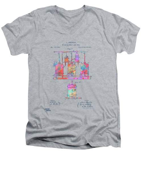 Colorful 1873 Brewing Beer And Ale Patent Artwork Men's V-Neck T-Shirt
