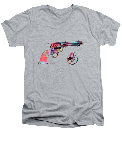 Colorful 1875 Colt Peacemaker Revolver Patent Minimal Men's V-Neck T-Shirt