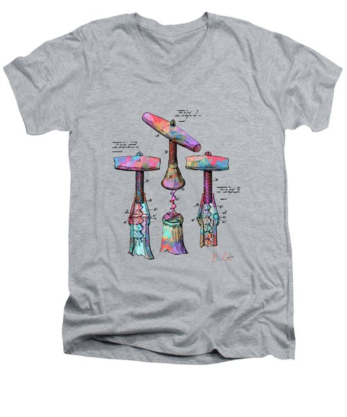 Colorful 1883 Wine Corckscrew Patent Men's V-Neck T-Shirt