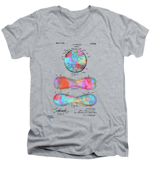 Colorful 1928 Baseball Patent Artwork Men's V-Neck T-Shirt