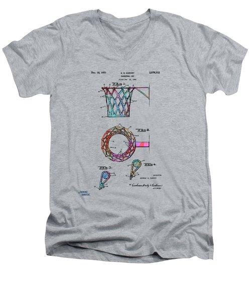Colorful 1951 Basketball Net Patent Artwork Men's V-Neck T-Shirt