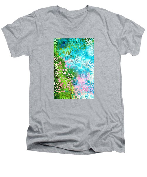 Colorful Art - Enchanting Spring - Sharon Cummings Men's V-Neck T-Shirt by Sharon Cummings