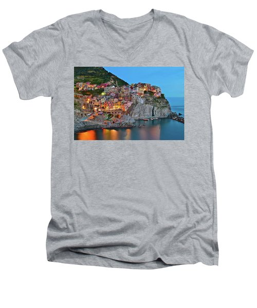 Men's V-Neck T-Shirt featuring the photograph Colorful Buildings Colorful Lights by Frozen in Time Fine Art Photography