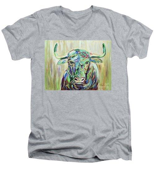 Colorful Bull Men's V-Neck T-Shirt by Jeanne Forsythe