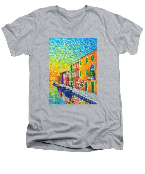 Colorful Burano Sunrise - Venice - Italy - Palette Knife Oil Painting By Ana Maria Edulescu Men's V-Neck T-Shirt by Ana Maria Edulescu