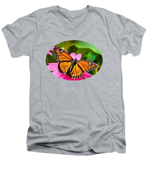 Colorful Butterflies - Orange Viceroy Butterfly Men's V-Neck T-Shirt by Christina Rollo