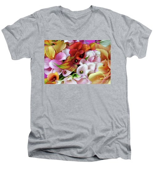 Colorful Calla Lilies Men's V-Neck T-Shirt