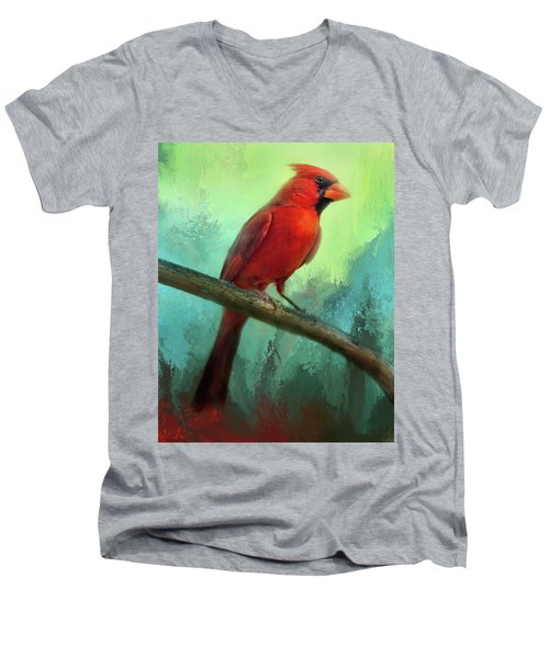 Men's V-Neck T-Shirt featuring the photograph Colorful Cardinal by Barbara Manis