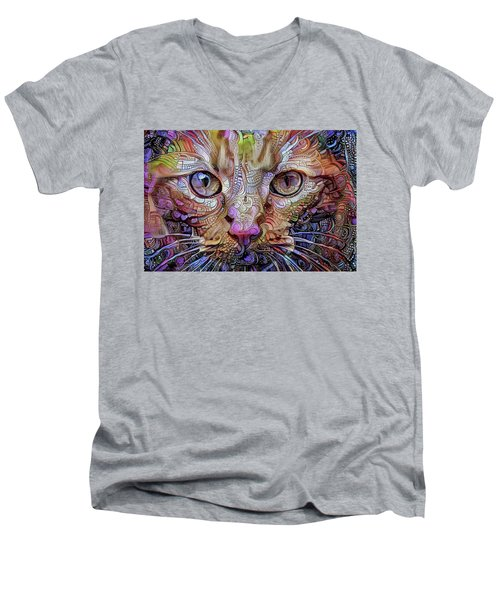 Colorful Cat Art Men's V-Neck T-Shirt