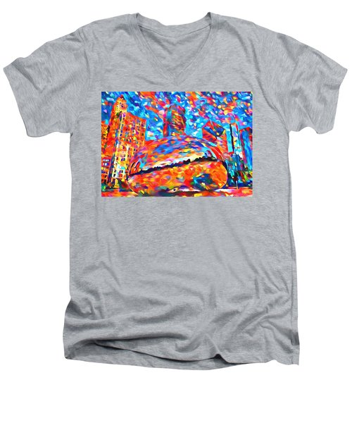 Men's V-Neck T-Shirt featuring the painting Colorful Chicago Bean by Dan Sproul