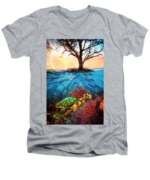 Men's V-Neck T-Shirt featuring the photograph Colorful Coral Seas by Debra and Dave Vanderlaan
