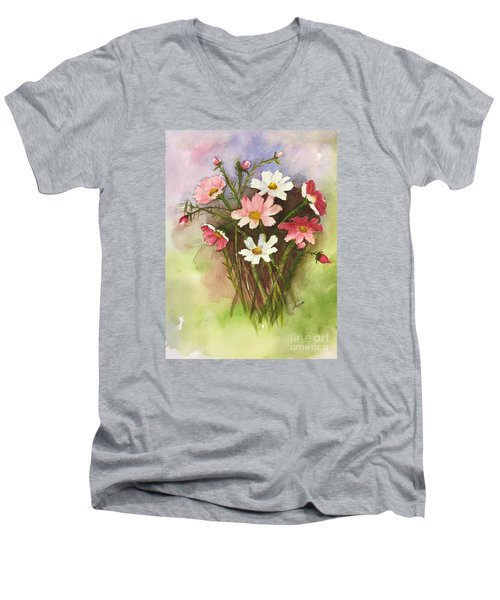Colorful Cosmos Men's V-Neck T-Shirt by Lucia Grilletto