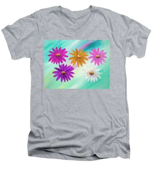 Men's V-Neck T-Shirt featuring the mixed media Colorful Daisies by Elizabeth Lock