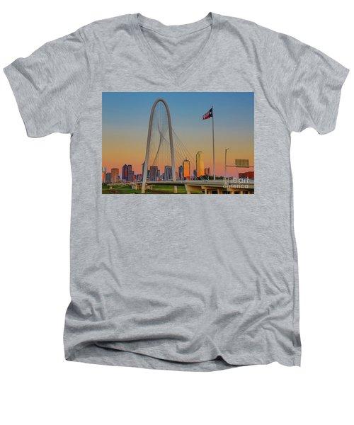 Colorful Dallas Sunset Men's V-Neck T-Shirt by John Roberts