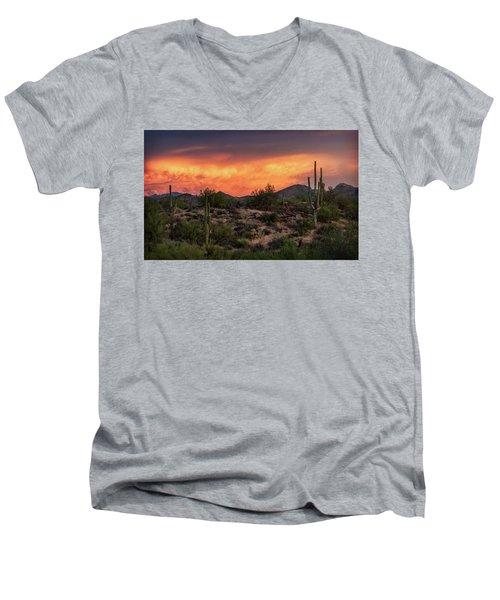 Men's V-Neck T-Shirt featuring the photograph Colorful Desert Skies At Sunset  by Saija Lehtonen