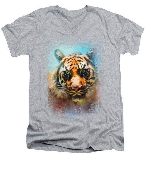 Colorful Expressions Tiger 2 Men's V-Neck T-Shirt by Jai Johnson
