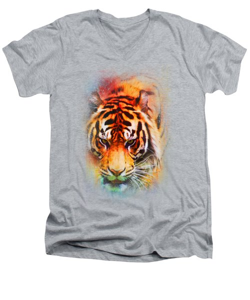Colorful Expressions Tiger Men's V-Neck T-Shirt by Jai Johnson