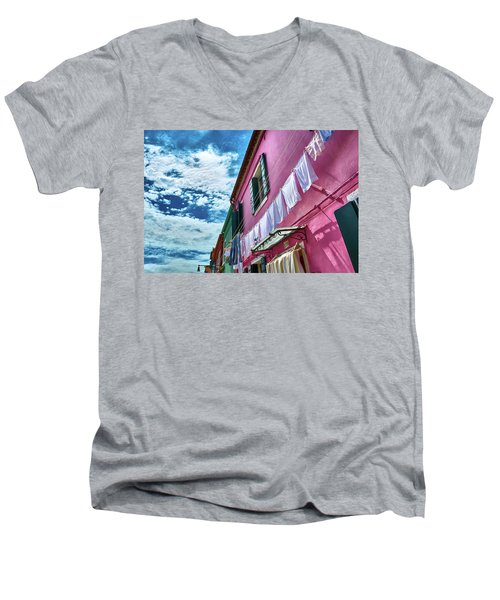 Colorful Facade With Laundry In Burano Men's V-Neck T-Shirt