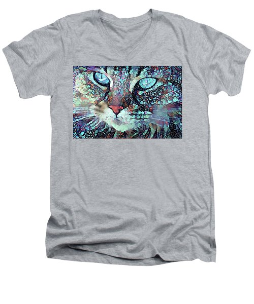 Colorful Flower Cat Art - A Cat Called Blue Men's V-Neck T-Shirt by Peggy Collins