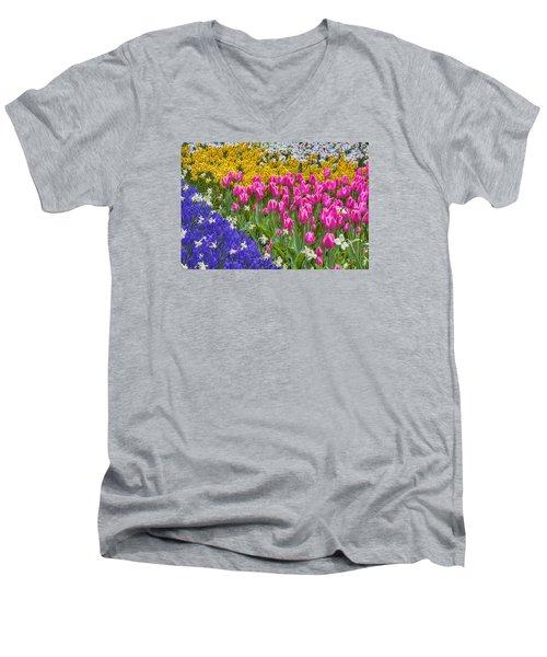 Colorful Flowers Men's V-Neck T-Shirt by Nadia Sanowar