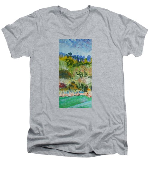 Colorful Forest On Cliffs Near The Sea In Dartmouth Devon Men's V-Neck T-Shirt