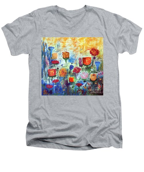 Men's V-Neck T-Shirt featuring the painting Colorful Garden by Haleh Mahbod
